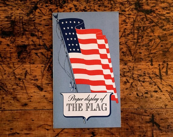 Vintage 48 Star Flag Decor, Proper Display Of The Flag Paper Fold Out Pamphlet, 1940s American Flag Ephemera, Americana Decor