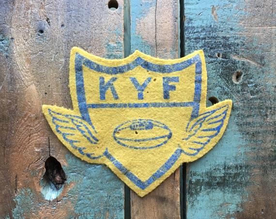 Vintage Felt Patch, KYF Kenosha Youth Football Patch, 1940s Felt Jacket Patch