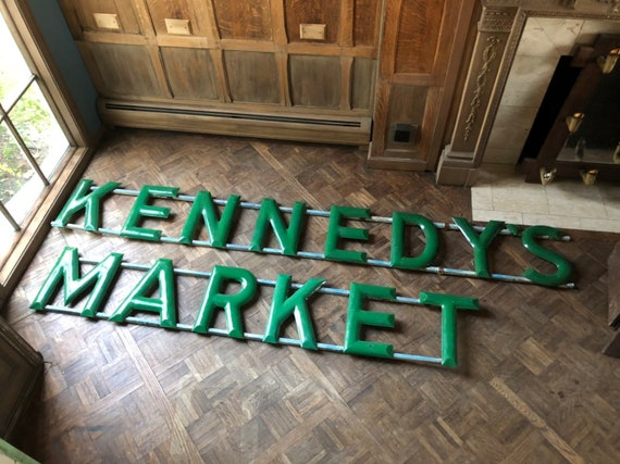 LARGE Kennedy's Market Porcelain Sign, 1930s Market Sign, Antique Sign for Kitchen or Restaurant, Antique Trade Sign