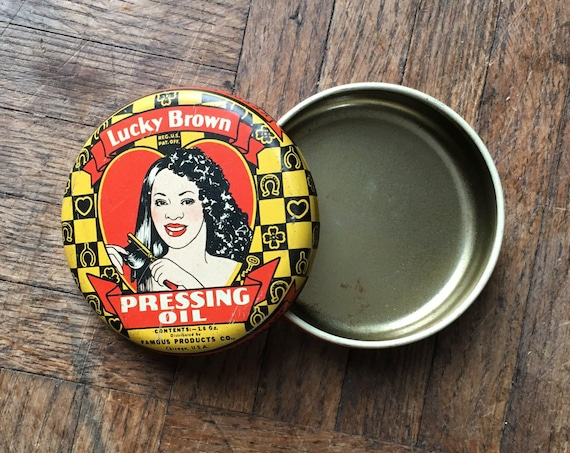 1930s Vintage Lucky Brown Pressing Oil Tin, Vintage Beauty Products, Bathroom Decor, Vintage Toiletries