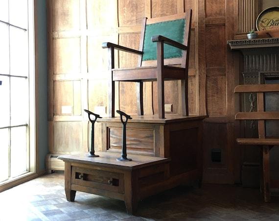 Antique Shoe Shine Chair, Oak Shoe Shine Chair, Antique Shoe Shine Chair with Foot Rests
