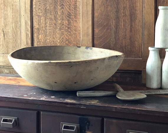 "Large Antique Wood Bowl, 22"" Dough Bowl, Primitive Wood Bowl, Table Decor, Antique Kitchen Decor"