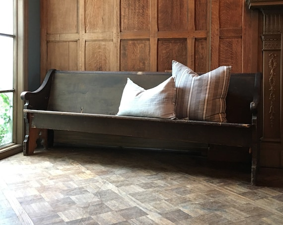 Antique Church Pew Bench, Farmhouse Bench, Entryway Bench, Wooden Church Bench, Primitive Bench