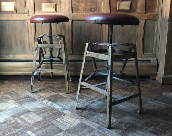 Pair Of Antique Industrial Stools, Metal Desk Stool, Drafting Stool, Industrial Office Furniture, Industrial Bar Stool