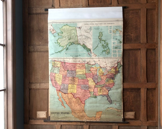 Antique USA and Mexico School Map, Pull Down Map Chart, Map Wall Hanging, Vintage Map Wall Art