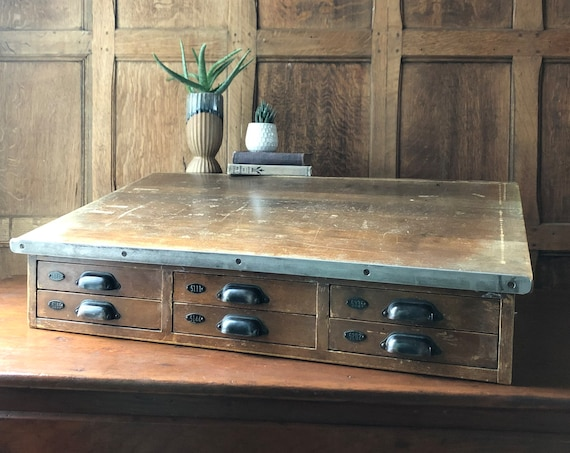 Antique Countertop Desk, Hamilton Multi Drawer Desk, Counter Top Apothecary Cabinet, Jewelry Storage Cabinet, Craft Storage
