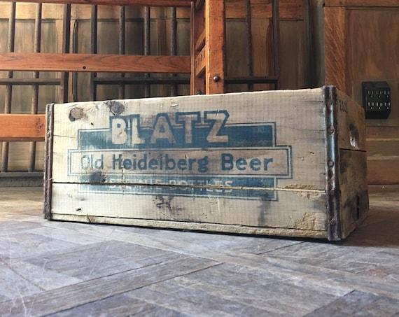Vintage Beer Crate, Blatz Old Heidelberg Beer Wood Crate, Blatz Brewing Co, Milwaukee Wisconsin, Decorative Storage, Breweriana