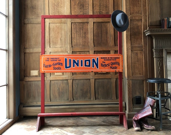 Large Union Farm and Garden Tool Stand Display, Vintage Hardware Store Tool Rack, Union Tool Advertising Rack