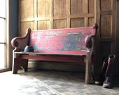 Antique Church Pew, Farmhouse Bench, Primitive Entryway Bench, Wooden Church Bench, Theater Seats, Red Bench