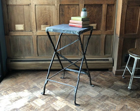 Industrial Heavy Metal Side Table, Antique Make-Do End Table, Welded Metal End Table, Industrial Plant Stand
