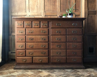 Antique File Cabinet, Vintage Multi Drawer Cabinet, Unique Card Catalog, Apothecary Cabinet, General Store Cabinet