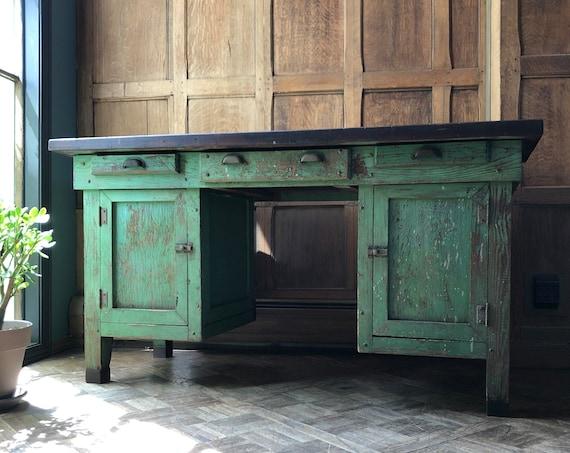 Vintage Desk With Drawer, Chippy Green Farmhouse Desk, Primitive Wood Desk, Antique Handmade Desk