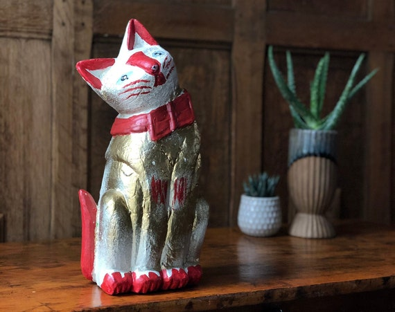 Vintage Carved Wood Cat, Painted Folk Art Cat, Lucky Cat Statue, Vintage Cat Decor, Talisman Cat
