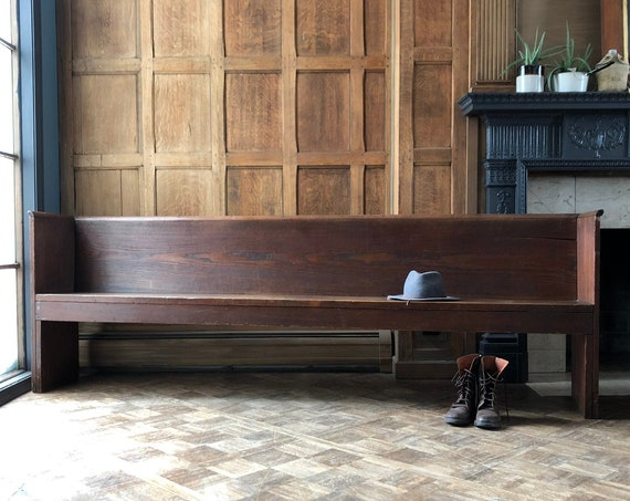 Antique Church Pew Bench, Primitive Farmhouse Bench, Wooden Church Pew, Vintage Entryway Bench, Church Pew Bench