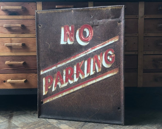 Vintage No Parking Sign, 1940s Hand Painted Sign, Red and White No Parking Sign, Vintage Metal Road Sign