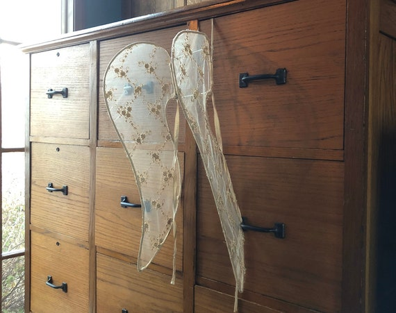 1920s Procession Wings, Handmade Antique Angel Wings, Angel Wings Wall Decor, Holiday Processional Wings