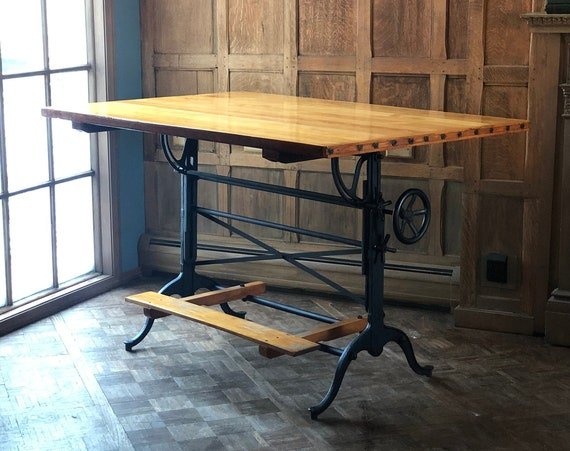 LARGE Antique Drafting Table, Industrial Standing Desk, Adjustable Drafting Table Dining Table, Cast Iron and Wood Table