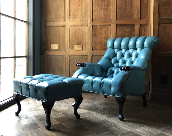 Vintage Leather Chair and Ottoman, Turquoise Tufted Leather Chair, Leather Club Chair, Leather Lounge Chair