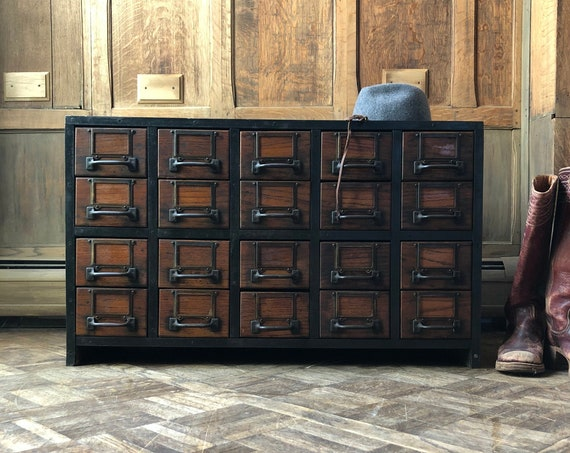 Antique Card Catalog, Parts Cabinet, Oak Card File, Wood And Metal Storage Cabinet, Vintage Drawer Unit, Industrial Storage
