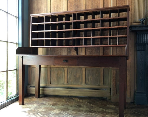 Antique Desk, Post Office Sorting Desk, Post Office Cubby Desk, Large Wood Cubby, Industrial Sorting Table, Standing Desk