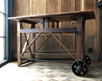 Antique Workbench Table, Primitive Entryway Table, Antique Cross Braced Table, Farmhouse Kitchen Table, Workbench Bar Table