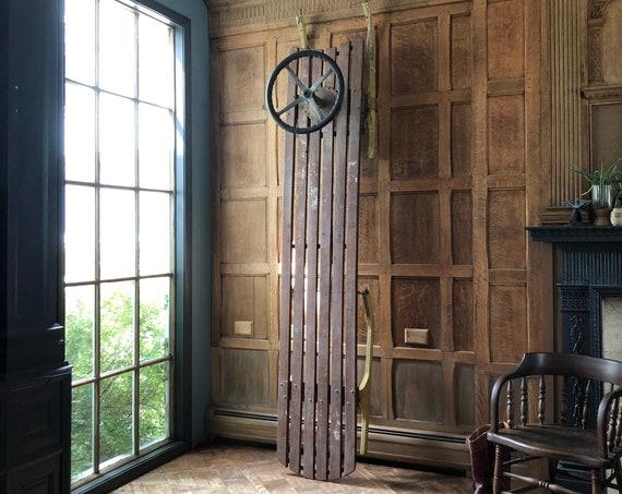 LARGE Homemade Sled, Vintage Toboggan Sled, Antique Wood Sled, Holiday Decor, Cabin Decor, Lodge Decor
