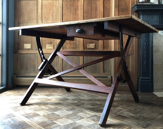 Antique Drafting Table, Industrial Dining Table, Vintage Standing Desk, Adjustable Drafting Table, Farmhouse Table