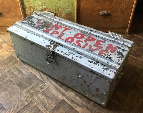 Antique Explosives Box, Heavy Metal Explosives Lock Box, Industrial Decor, Steel Ordinance Box
