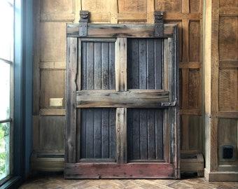 Antique Barn Door, Sliding Barn Door, Red Barn Door, Rustic Farmhouse Decor, Wood Sliding Door