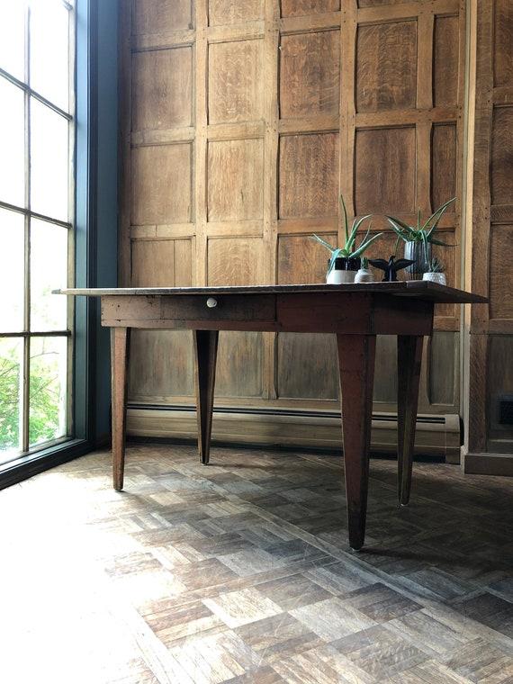 Small Primitive Table, Antique Scrap Wood Desk, Primitive Kitchen Work Table, Rustic Farmhouse Desk