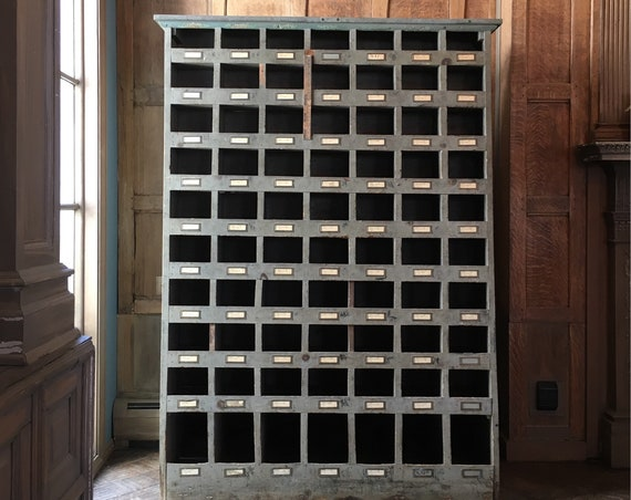 Antique Double Sided Storage Cubby, Hardware Store Bolt Bin, Apothecary Cabinet, Shoe Storage, Toy Storage, Wood Industrial Shelving