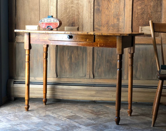 Antique Entryway Table, Primitive Console Table, Farmhouse Side Table, Rustic Spindle Leg Table with Drawer
