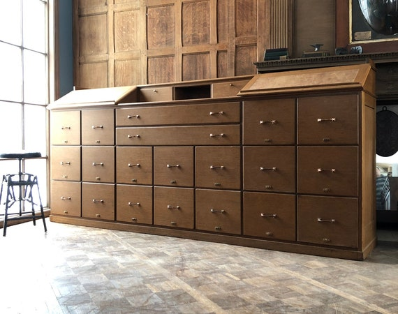 LARGE Antique Oak File Cabinet, 9FT Long Multi Drawer Unit, Bank Store Counter, Industrial Office File Cabinet