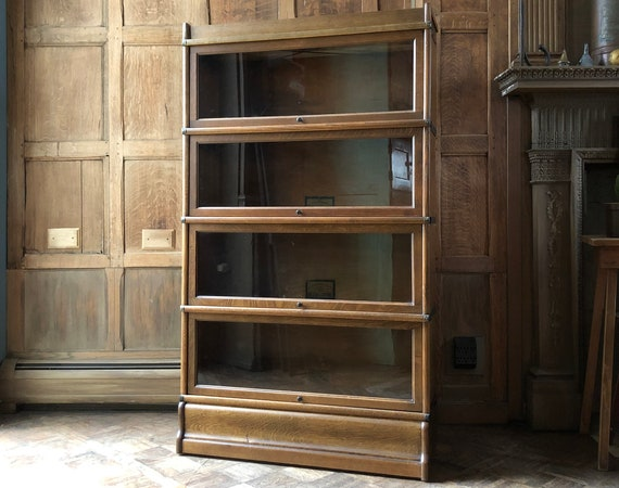 Antique Barrister Bookcase, Wood Office Shelving, Entryway Furniture, Vintage Organization Storage