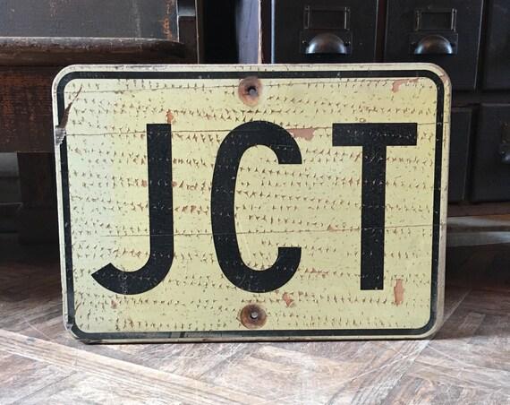 Vintage Road Sign, JCT Junction Sign, Wood Street Sign, Directional Road Sign, Industrial Decor, Vintage Transportation