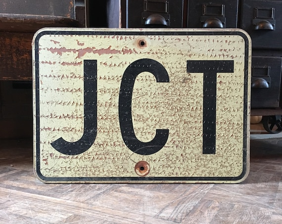 Vintage Road Sign, JCT Junction Sign, Wood Street Sign, Directional Road Sign, Industrial Decor, Vintage Transportation