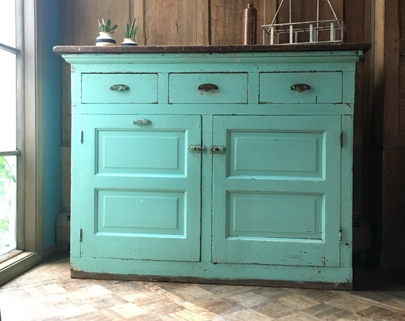 Antique Farmhouse Cabinet,  Chippy Console Cabinet, Farmhouse Console Table, Seafoam Sideboard