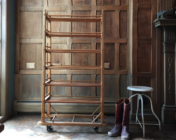 Antique Bakers Rack, Early 1900s Wood Bakers Rack, Cast Iron Casters, Industrial Shelving, Rustic Wine Rack, Shoe Rack