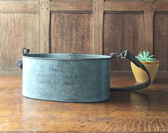 Vintage Galvanized Berry Picking Bucket, Galvanized Metal Bin, Rustic Industrial Storage Decor, Fruit Picking Pail