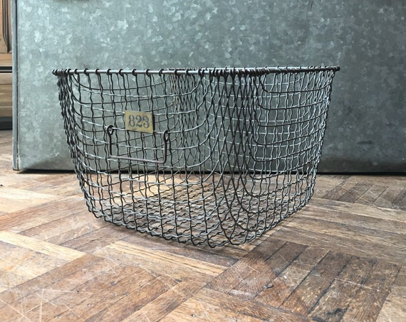 Vintage Wire Basket, Gym Locker Basket, Industrial Woven Metal Wire Basket, Storage Basket