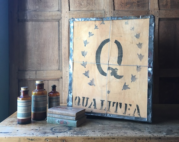 Vintage Tea Crate, Large Qualitea Wood Tea Shipping Box, Tea Party Kitchen Decor