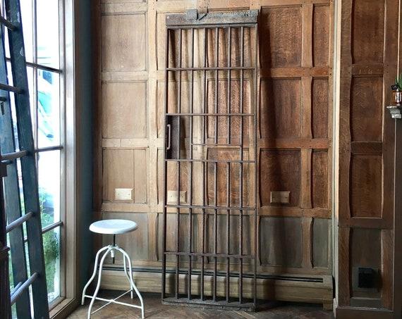 Antique Prison Cell Gate, Iron Gates, Industrial Wall Decor, Metal Garden Decor Gate, Sliding Door