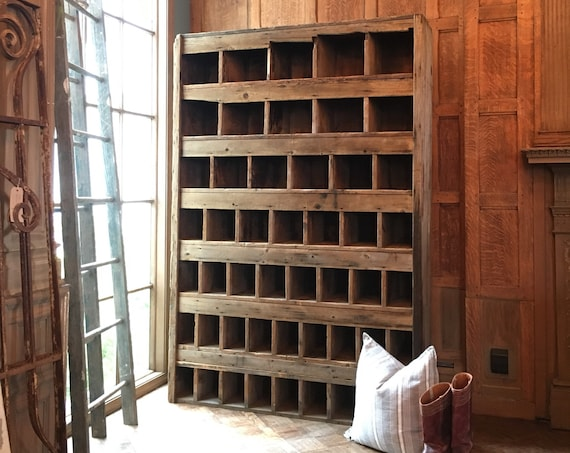 Large Rustic Wood Cubby Unit, Primitive Farmhouse Storage, Industrial Parts Cabinet, Wood Sorting Unit