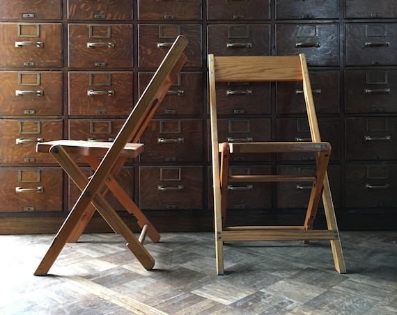 Pair of Oak Folding Chairs, Vintage Theater Seats, Set of Two, Folding Chairs for Adults, Antique Oak Chairs, Extra Seating