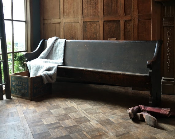 Antique Church Pew Bench, Primitive Farmhouse Entryway Bench, Wooden Church Bench, Theater Seats