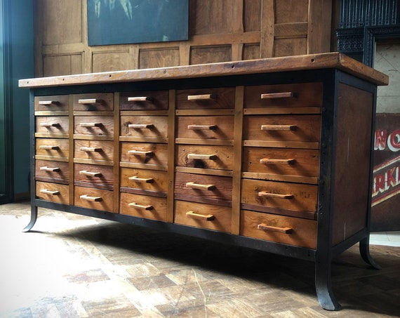 Industrial Workbench with Drawers, Workbench Console Table, Apothecary Cabinet, Multi Drawer Cabinet, Sofa Table