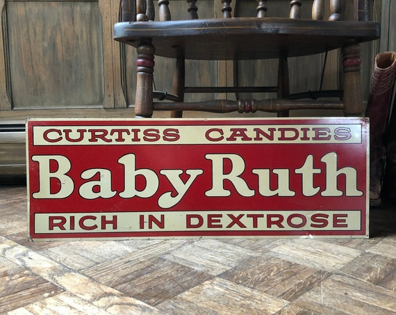 Authentic Antique Baby Ruth Sign, 1930s Curtiss Candies Baby Ruth Sign, Red and White Tin Tacker Sign, Vintage Metal Candy Sign