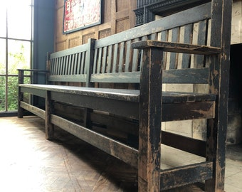 Large Antique Railroad Station Bench, 10 Foot Bench, Entryway Bench, Wooden Church Bench, Primitive Bench 10FT