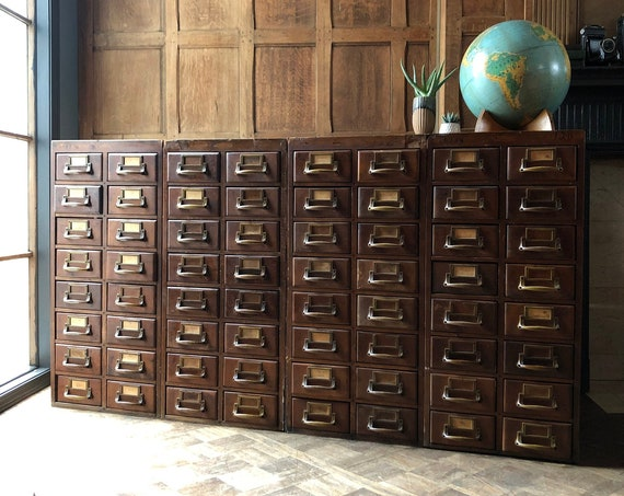 LARGE Antique Card Catalog, Set Of Four Wood Card File Cabinets, Storage Cabinet, Vintage Drawer Unit, Apothecary Cabinet