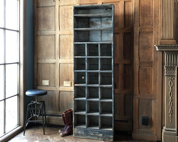 Vintage Wood Cubby Shelf, Tall Primitive Farmhouse Storage, Industrial Parts Cabinet, Rustic Wood Sorting Unit, Cubby Storage